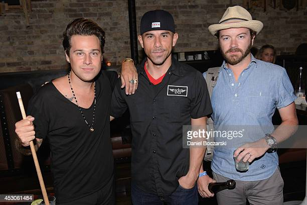 Ryan Cabrera, Billy Dec and Danny Masterson attend a Lollapalooza afterparty at Rockit Bar & Grill on August 1, 2014 in Chicago, Illinois.