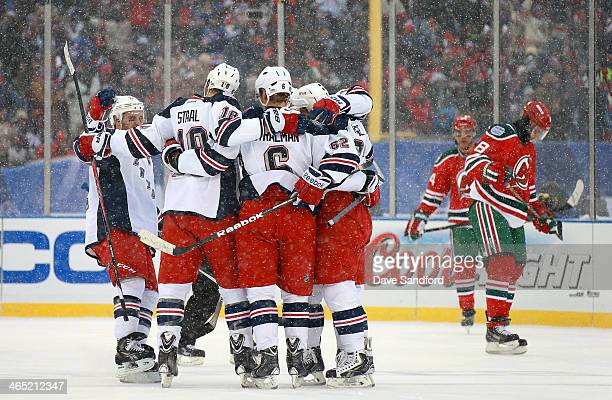 Ryan Callahan Marc Staal Anton Stralman Brad Richards and Carl Hagelin of the New York Rangers celebrate Hagelin's goal in the second period as Bryce...