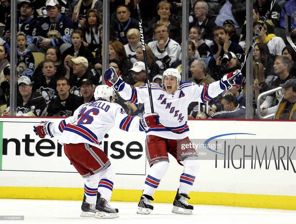 Ryan Callahan #24 of the New York Rangers celebrates his game winning goal against the Pittsburgh Penguins at Consol Energy Center on March 20, 2011 in Pittsburgh, Pennsylvania. The Rangers defeated the Penguins 5-2.