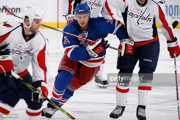 Ryan Callahan of the New York Rangers skates against the Washington Capitals during Game Six of the Eastern Conference Quarterfinal Round of the 2009...