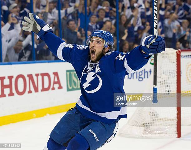 Ryan Callahan of the Tampa Bay Lightning celebrates his goal against `the New York Rangers during the first period in Game Six of the Eastern...
