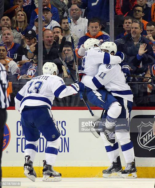 Ryan Callahan of the Tampa Bay Lightning celebrates the game winning goal by Brian Boyle at 248 of the first overtime against the New York Islanders...