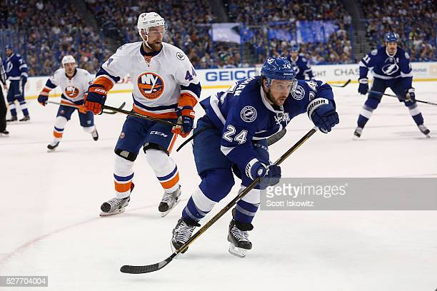 Ryan Callahan of the Tampa Bay Lightning looks for the puck in Game Two of the Eastern Conference Second Round during the 2016 NHL Stanley Cup...