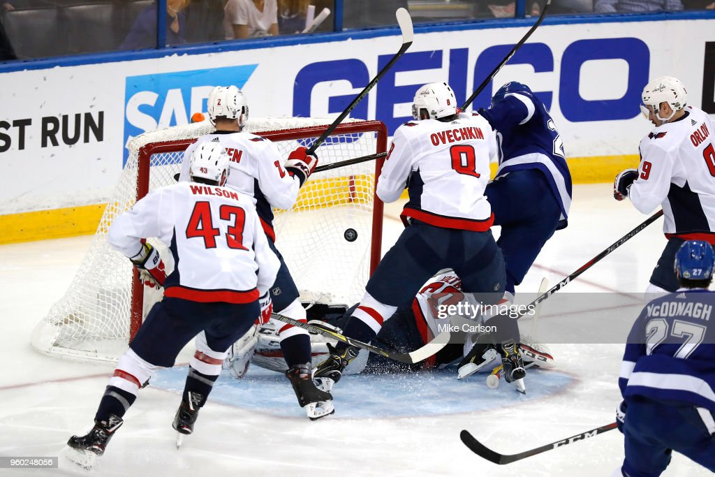 Ryan Callahan #24 of the Tampa Bay Lightning scores a goal on Braden Holtby #70 of the Washington Capitals during the second period in Game Five of the Eastern Conference Finals during the 2018 NHL Stanley Cup Playoffs at Amalie Arena on May 19, 2018 in Tampa, Florida.