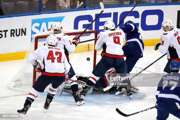 Ryan Callahan of the Tampa Bay Lightning scores a goal on Braden Holtby of the Washington Capitals during the second period in Game Five of the...