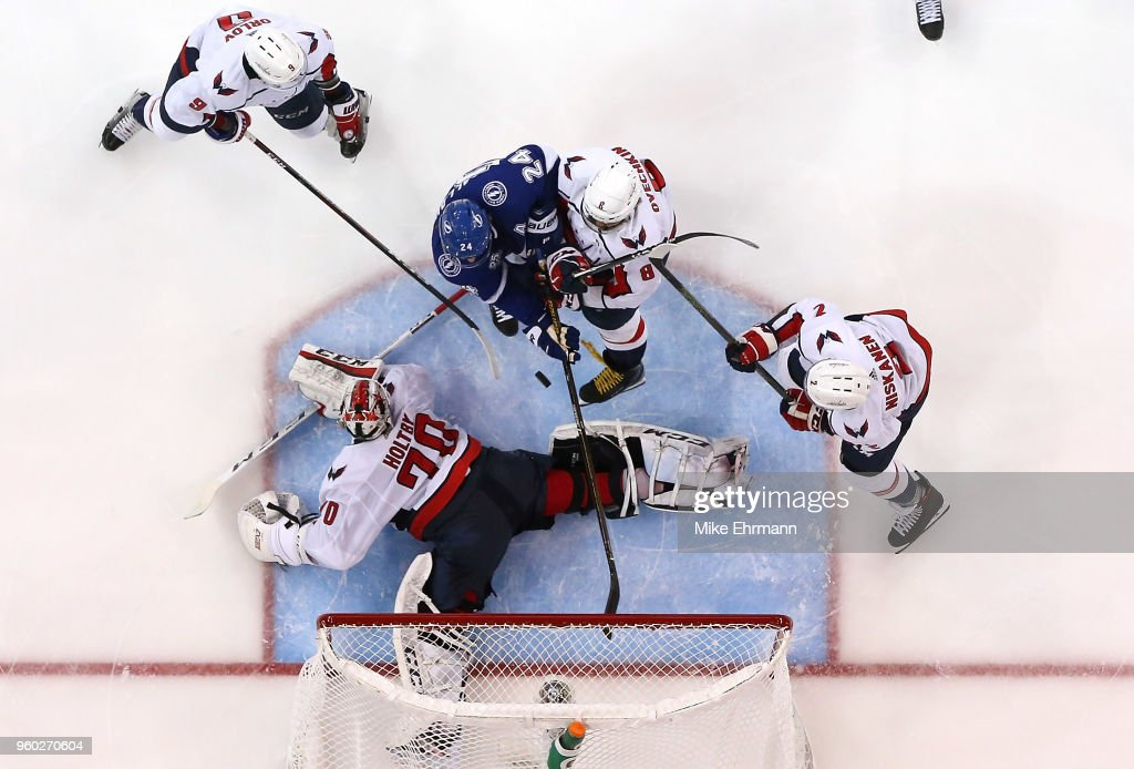 Ryan Callahan #24 of the Tampa Bay Lightning scores a goal on Braden Holtby #70 of the Washington Capitals in Game Five of the Eastern Conference Finals during the 2018 NHL Stanley Cup Playoffs at Amalie Arena on May 19, 2018 in Tampa, Florida.
