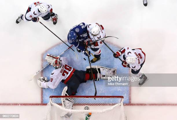 Ryan Callahan of the Tampa Bay Lightning scores a goal on Braden Holtby of the Washington Capitals in Game Five of the Eastern Conference Finals...