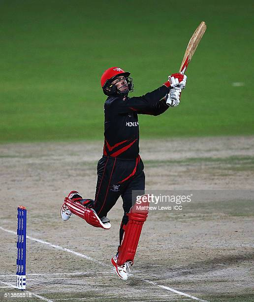 Ryan Campbell of Hong Kong hits the ball towards the boundary during the ICC Twenty20 World Cup warmup match between HPCA XI v Hong Kong at the HPCA...