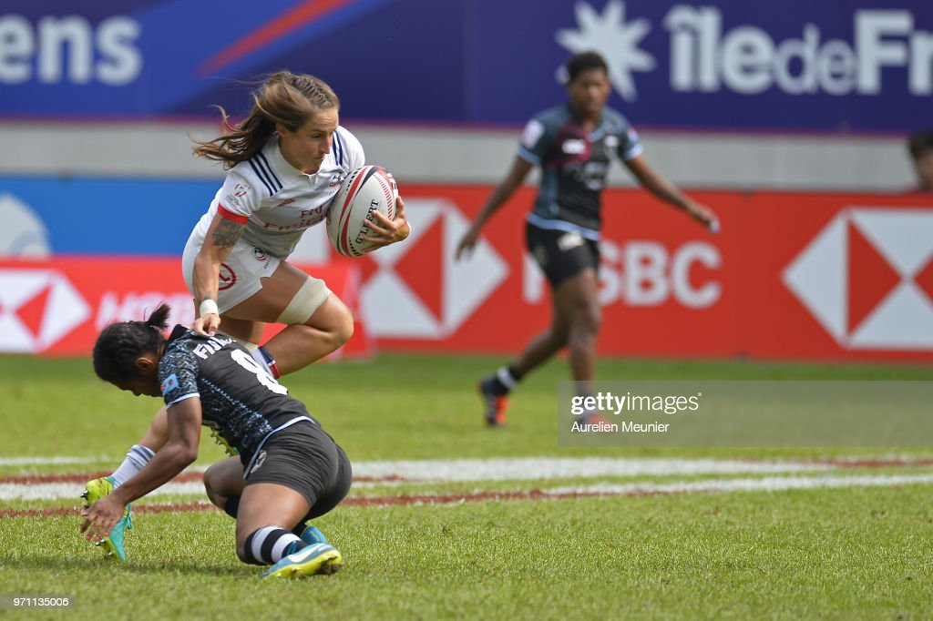 Ryan Carlyle of The United States Of America is tackled during the match between The United States Of America and Fiji at the HSBC Paris Sevens, stage of the Rugby Sevens World Series at Stade Jean Bouin on June 10, 2018 in Paris, France.