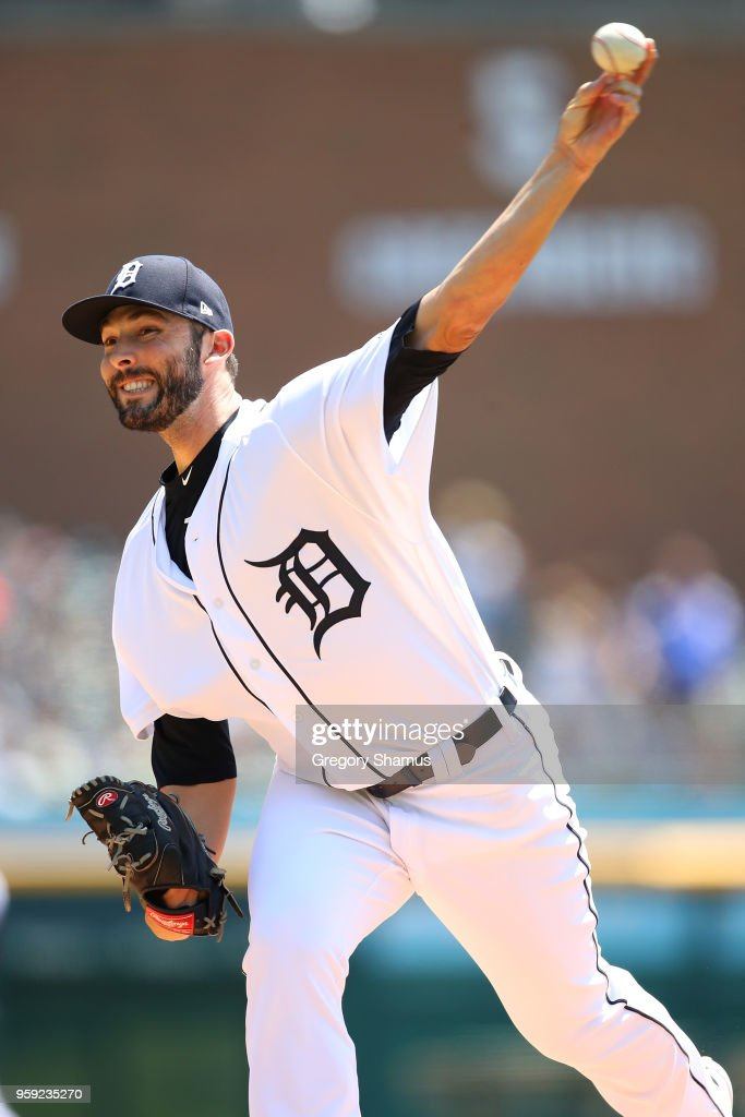 Ryan Carpenter #31 of the Detroit Tigers throws a first inning pitch while playing the Cleveland Indians at Comerica Park on May 16, 2018 in Detroit, Michigan.