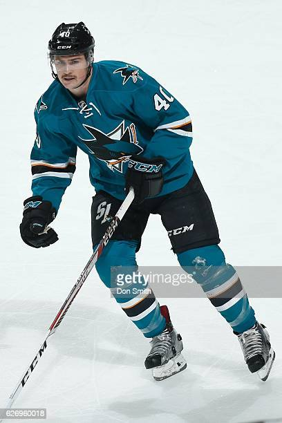Ryan Carpenter of the San Jose Sharks looks during a NHL game against the Anaheim Ducks at SAP Center at San Jose on November 26, 2016 in San Jose,...