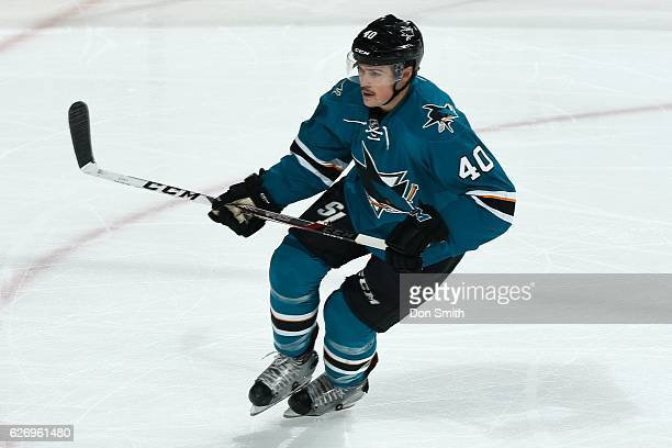 Ryan Carpenter of the San Jose Sharks looks during a NHL game against the Ryan Carpenter at SAP Center at San Jose on November 26, 2016 in San Jose,...