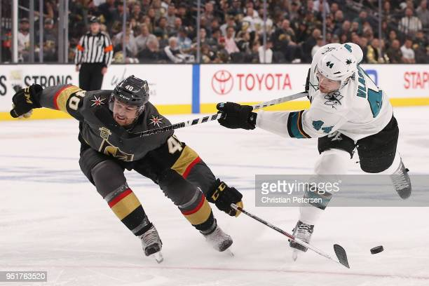 Ryan Carpenter of the Vegas Golden Knights blocks a shot from MarcEdouard Vlasic of the San Jose Sharks in the first period Game One of the Western...