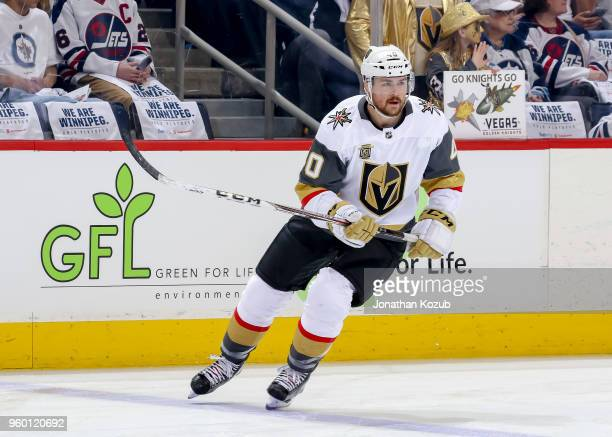 Ryan Carpenter of the Vegas Golden Knights takes part in the pregame warm up prior to NHL action against the Winnipeg Jets in Game Two of the Western...