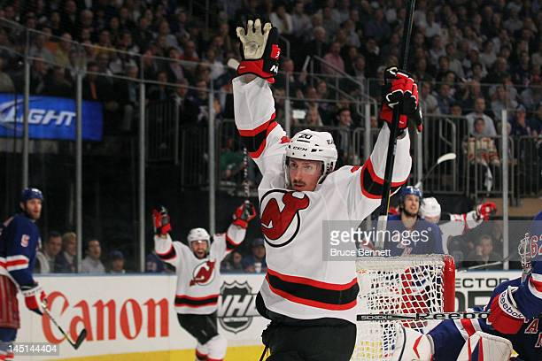 Ryan Carter of the New Jersey Devils celebrates his third period goal in Game Five of the Eastern Conference Final against the New York Rangers...