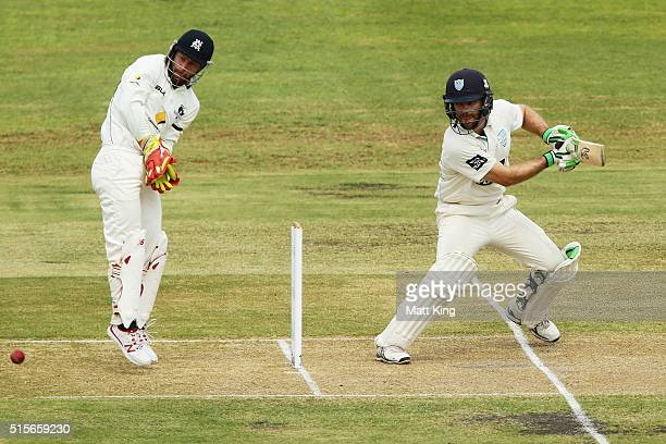 Ryan Carters of the Blues bats during day one of the Sheffield Shield match between Victoria and New South Wales at Traeger Park on March 15 2016 in...