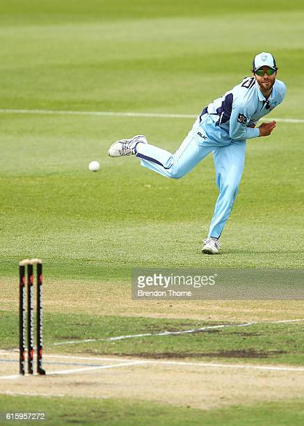 Ryan Carters of the Blues fields during the Matador BBQs One Day Cup match between New South Wales and Victoria at Drummoyne Oval on October 21 2016...