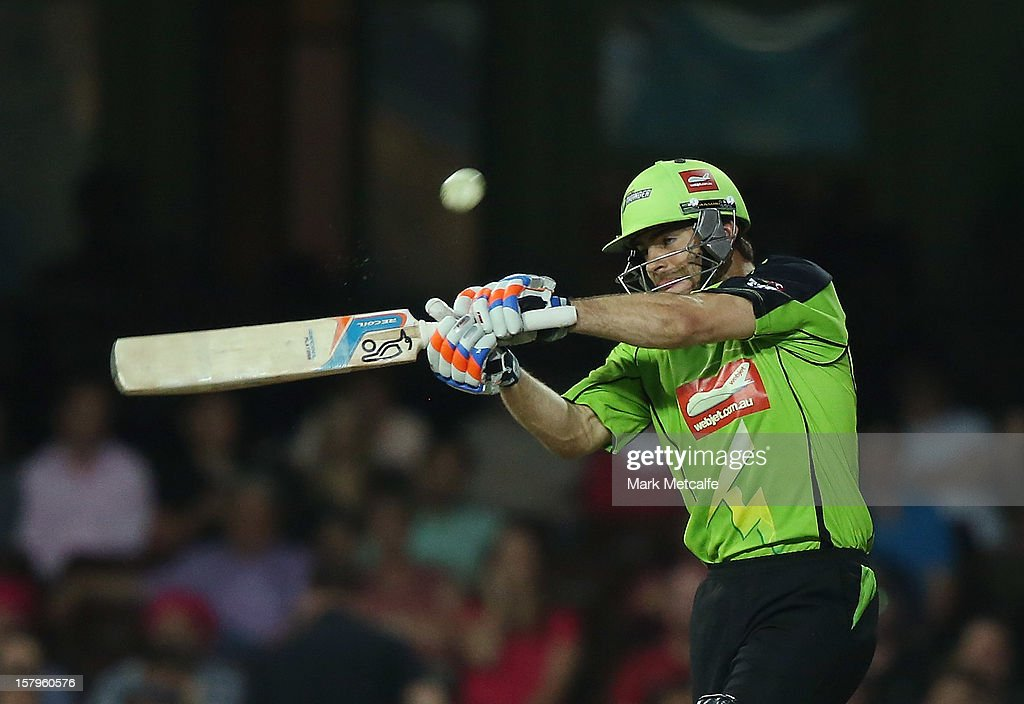 Ryan Carters of the Thunder bats during the Big Bash League match between the Sydney Sixers and the Sydney Thunder at Sydney Cricket Ground on December 8, 2012 in Sydney, Australia.