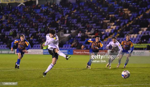 Ryan Cassidy of Accrington misses a penalty during the Sky Bet League One match between Shrewsbury Town and Accrington Stanley at Montgomery Waters...