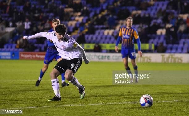 Ryan Cassidy of Accrington Score their second goal during the Sky Bet League One match between Shrewsbury Town and Accrington Stanley at Montgomery...
