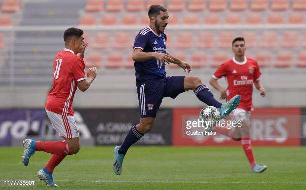 Ryan Cherki of Olympique Lyonnais with Tiago Gouveia of SL Benfica in action during the UEFA Youth League Group G match between SL Benfica and...