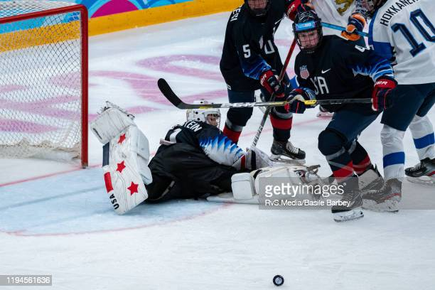 Ryan Chesley of United States tries to take control of the puck in front of beaten Goalkeeper Dylan Silverstein of United States during Men's 6Team...
