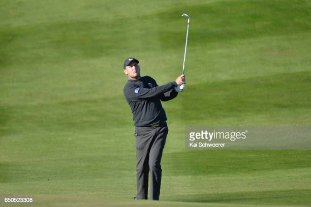 Ryan Chisnall of New Zealand plays a shot during day two of the New Zealand Open at The Hills on March 10 2017 in Queenstown New Zealand