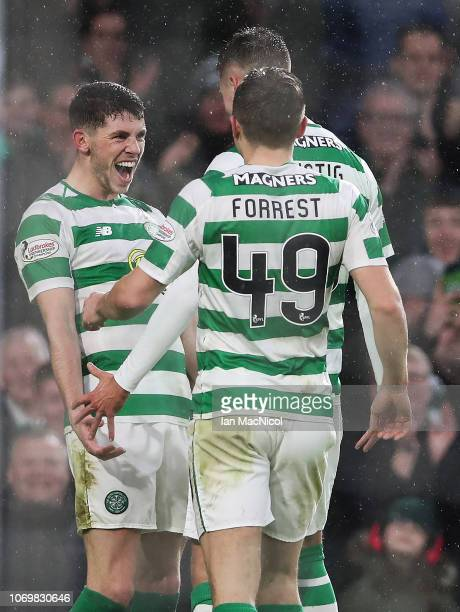 Ryan Christie celebrates after he scores his team's fourth goal during the Scottish Ladbrokes Premiership match between Celtic and Kilmarnock at...