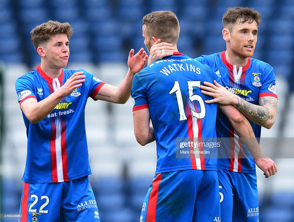 Ryan Christie, Marley Watkins and Greg Tansley of Inverness Caledonian Thistle celebrates their teams famous victory over Celtic at full time with the traveling fans, during the William Hill Scottish Cup Semi Final match between Inverness Caledonian Thistle and Celtic at Hamden Park on April 19, 2015 in Glasgow Scotland.
