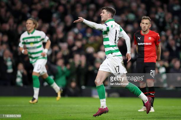 Ryan Christie of Celtic celebrates after he scores his sides second goal during the UEFA Europa League group E match between Celtic FC and Stade...