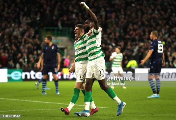Ryan Christie of Celtic celebrates after scoring his team's first goal with Odsonne Edouard of Celtic during the UEFA Europa League group E match...