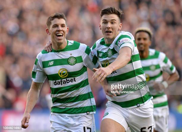 Ryan Christie of Celtic celebrates after scoring his team's second goal with Kieran Tierney of Celtic during the Betfred Scottish League Cup Semi...