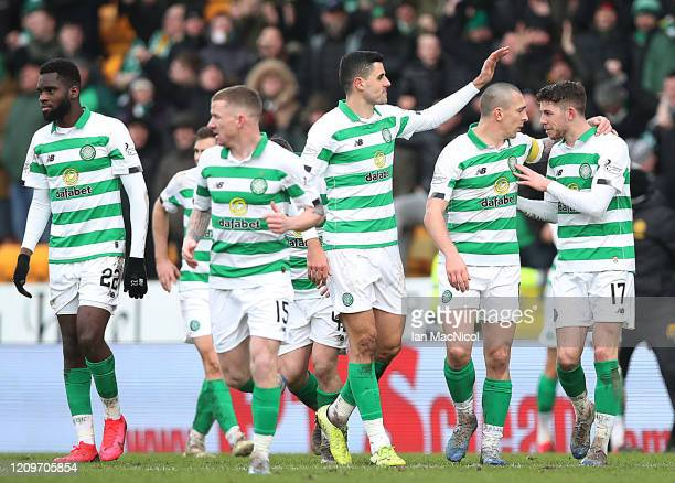 Ryan Christie of Celtic celebrates scoring the only goal of the game during the Scottish Cup Quarter final match between St Johnstone and Celtic at...