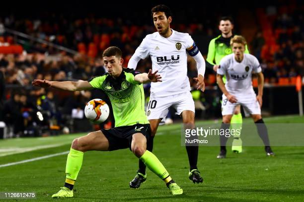 Ryan Christie of Celtic FC and Dani Parejo of Valencia CF during round of 32 Second leg of UEFA Europa league match between Valencia CF vs Celtic at...