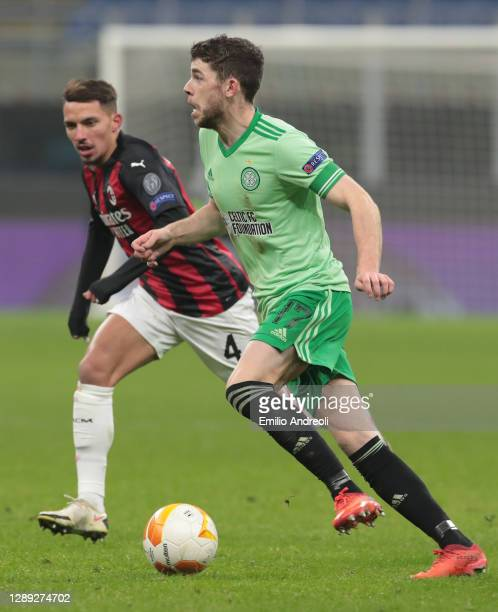 Ryan Christie of Celtic FC in action during the UEFA Europa League Group H stage match between AC Milan and Celtic at San Siro Stadium on December...