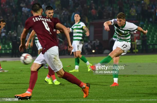 Ryan Christie of Celtic Glasgow vies with Halid Sabanovic of FK Sarajevo during the UEFA Champions League first round qualifier match between...