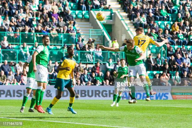 Ryan Christie of Celtic scores his team's first goal during the Scottish Premier League match between Hibernian and Celtic at Easter Road on 28...