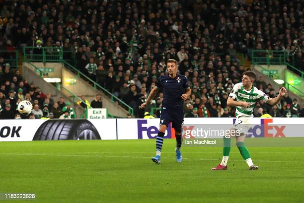 Ryan Christie of Celtic scores his team's first goal during the UEFA Europa League group E match between Celtic FC and Lazio Roma at Celtic Park on...