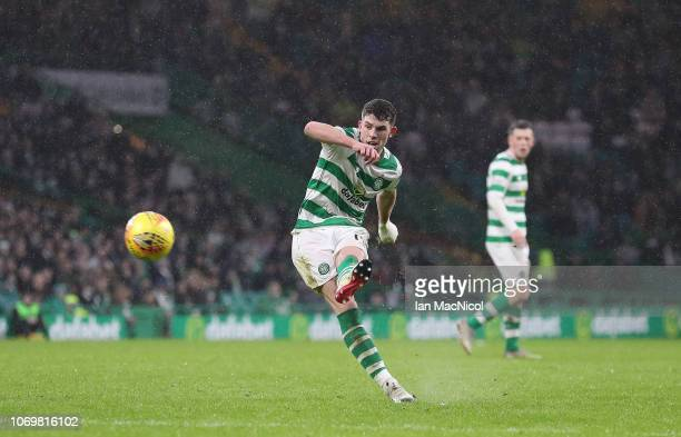 Ryan Christie of Celtic scores his team's fourth goal during the Scottish Ladbrokes Premiership match Celtic and Kilmarnock at Celtic Park Stadium on...