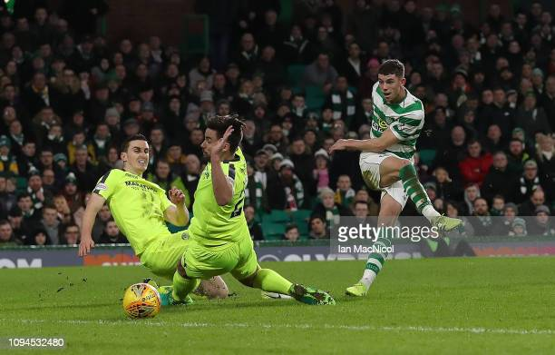 Ryan Christie of Celtic scores the opening goal during the Ladbrokes Premiership match between Celtic and Hibernian at Celtic Park on February 6 2019...