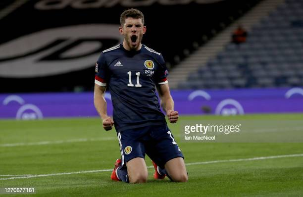 Ryan Christie of Scotland celebrates after scoring from the penalty spot during the UEFA Nations League group stage match between Scotland and Israel...