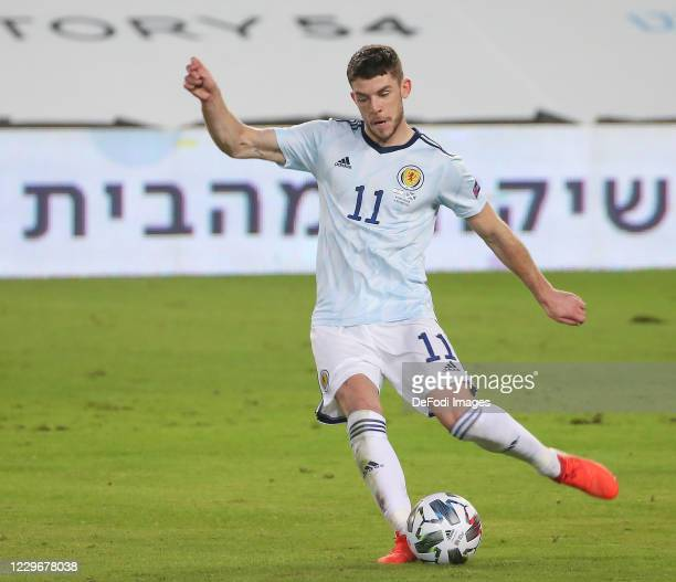 Ryan Christie of Scotland controls the ball during the UEFA Nations League group stage match between Israel and Scotland at Netanya Stadium on...