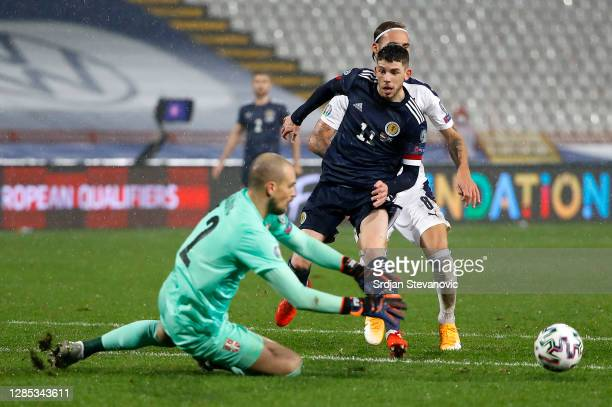 Ryan Christie of Scotland has a shot saved during the UEFA EURO 2020 Play-Off Final between Serbia and Scotland at Rajko Mitic Stadium on November...