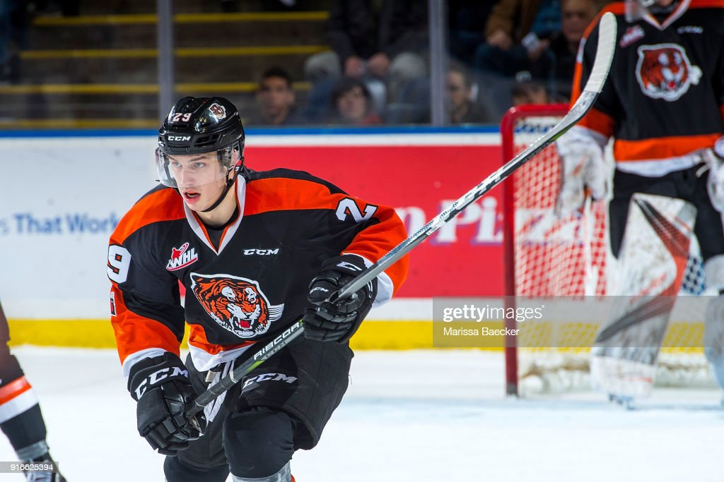 Ryan Chyzowski #29 of the Medicine Hat Tigers skates against the Kelowna Rockets at Prospera Place on January 30, 2018 in Kelowna, Canada.