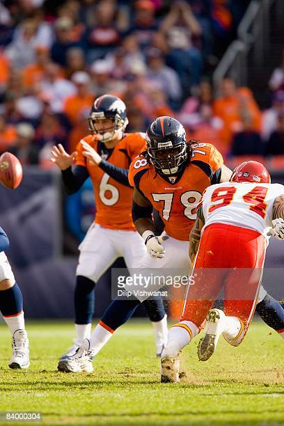 Ryan Clady of the Denver Broncos blocks against the Kansas City Chiefs at Invesco Field at Mile High on December 7, 2008 in Denver, Colorado. The...