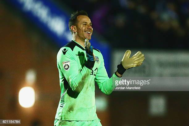 Ryan Clarke of Eastleigh celebrates as Mikael Mandron of Eastleigh scores their first goal during The Emirates FA Cup first round match between...
