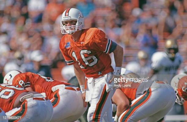 Ryan Clement, Quarterback for the University of Miami Hurricanes calls the play on the line of scrimmage during the NCAA Big East Conference college...