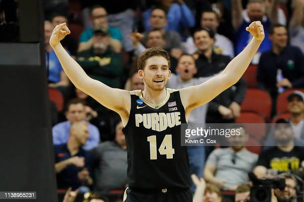 Ryan Cline of the Purdue Boilermakers reacts after a three pointer against the Tennessee Volunteers during the second half of the 2019 NCAA Men's...