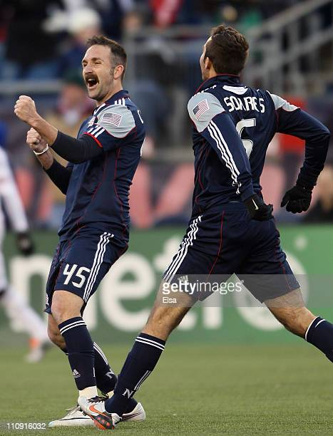 Ryan Cochrane and AJ Soares of the New England Revolution celebrates the win over the DC United on March 26 2011 at Gillette Stadium in Foxboro...