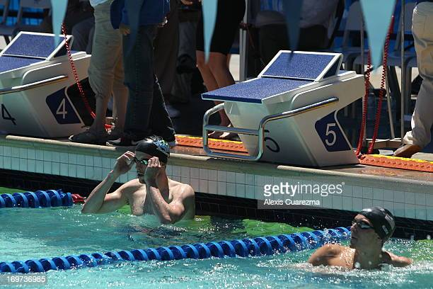 Ryan Cochrane in the pool after he completes the men's 400 meter free style prelims during Day Two of the Santa Clara International Grand Prix at the...